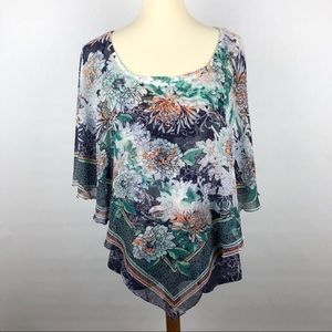 Style & Co Floral Blue Green Blouse Size Large
